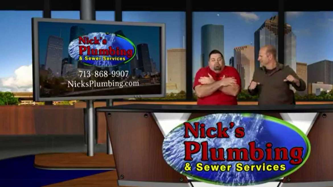 Two Plumbing Experts Sitting at News Desk in Houston and Acting Cold