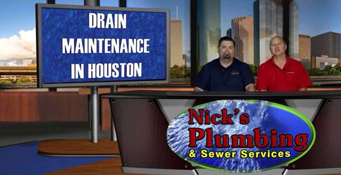 Two Experts Sitting at a News Desk in Houston Discuss Drain Maintenance