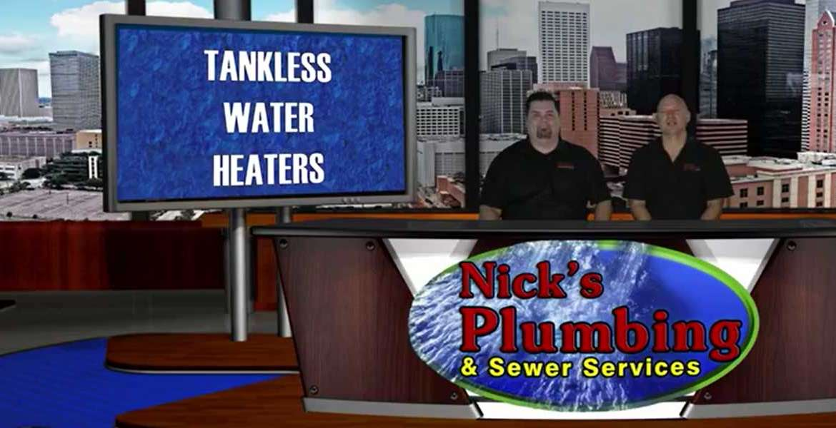 Two Experts Sitting at a News Desk in Houston Discuss Tankless Water Heaters