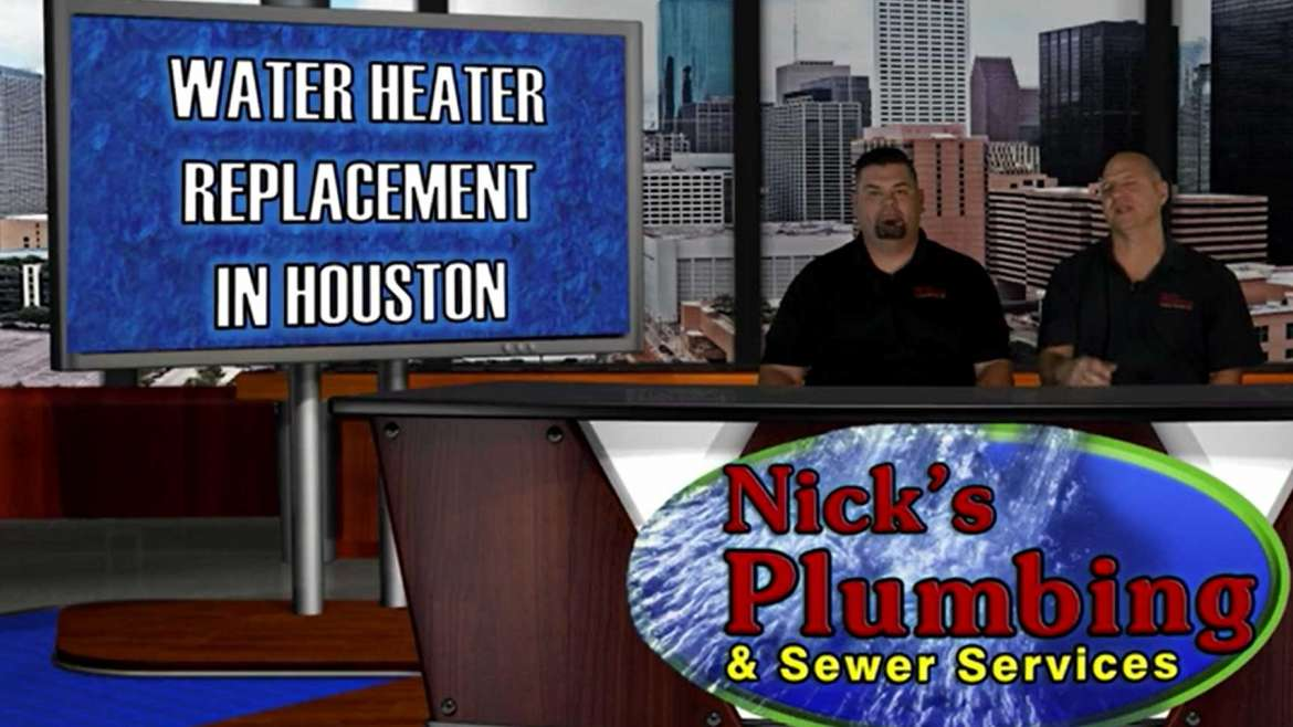 Plumbers Sitting at News Desk in Houston Discuss Water Heater Replacement